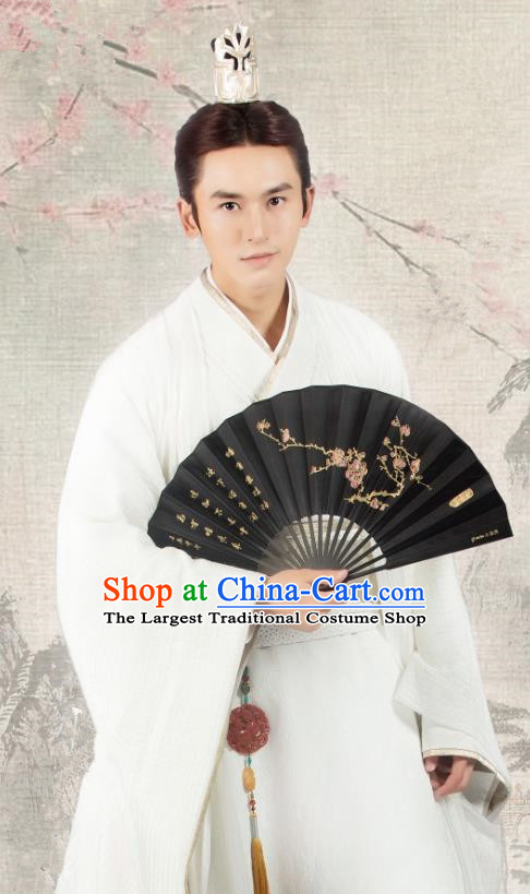 Chinese Ancient Qin Prince Long Feiye Clothing Historical Drama Legend of Yun Xi Costume and Headpiece for Men