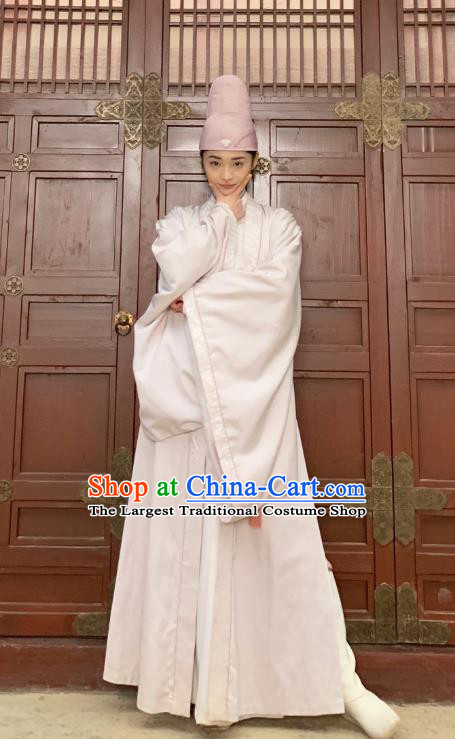 Drama Miss Truth Chinese Ancient Tang Dynasty Female Forensic Ran Yan White Dress Costume and Headpiece for Women