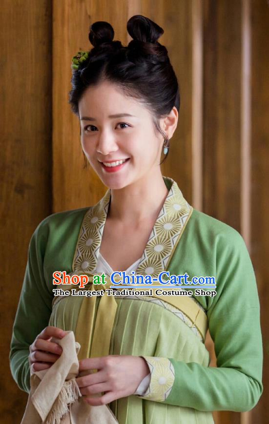 Drama Miss Truth Chinese Ancient Maidservants Wan Lv Dress Tang Dynasty Costume and Headpiece for Women