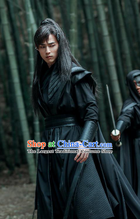 Chinese Ancient Swordsman Su Fu Black Clothing Historical Drama Miss Truth Tang Dynasty Costume and Headpiece for Men