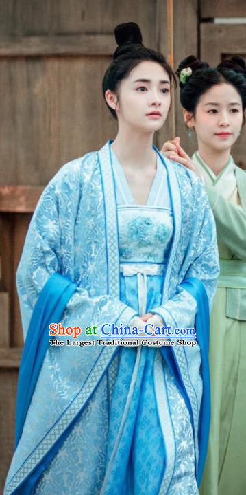 Drama Miss Truth Chinese Ancient Nobility Lady Ran Yan Blue Hanfu Dress Tang Dynasty Costume and Headpiece for Women