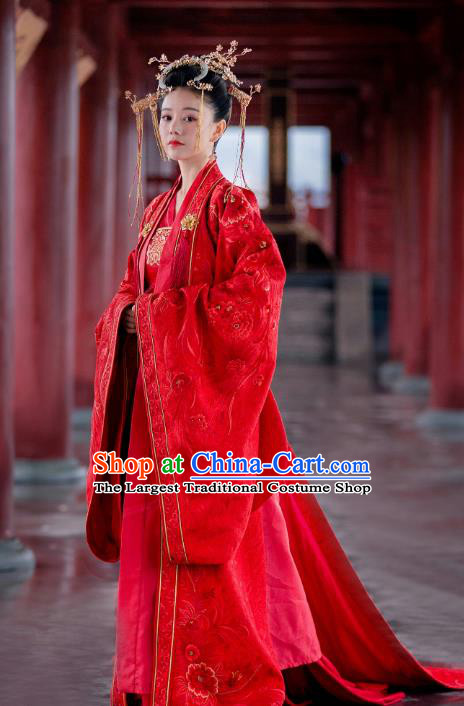 Drama Miss Truth Chinese Ancient Nobility Lady Ran Meiyu Red Hanfu Dress Tang Dynasty Wedding Costume and Headpiece for Women