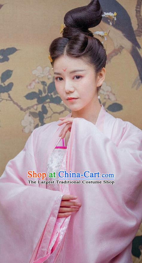 Drama Miss Truth Chinese Ancient Nobility Lady Ran Meiyu Pink Hanfu Dress Tang Dynasty Costume and Headpiece for Women