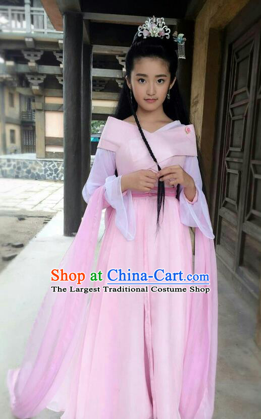 Chinese Ancient Princess Pink Hanfu Dress Drama Go Princess Go Zhang Lingling Costume and Headpiece for Women