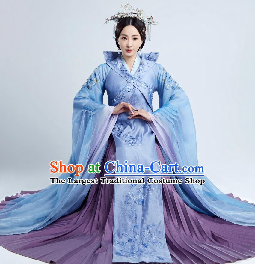 Drama The Love Lasts Two Minds Chinese Ancient Noble Dame Yuan Hanfu Dress Costume and Headpiece for Women