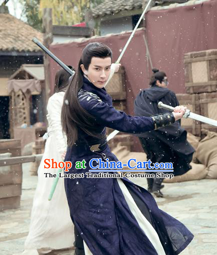 Chinese Ancient Swordsman Jing Ci Clothing Historical Drama The Love Lasts Two Minds Costume and Headpiece for Men