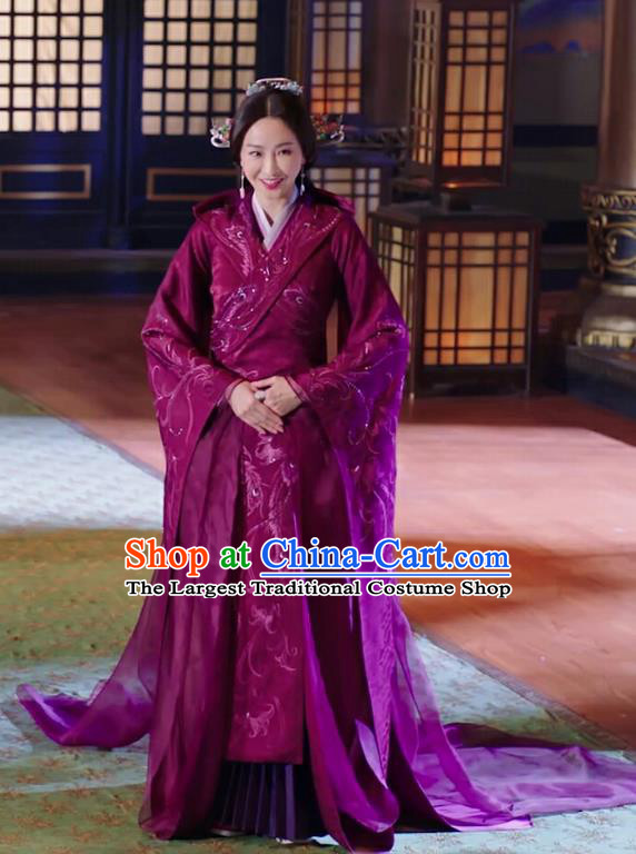 Chinese Drama The Love Lasts Two Minds Ancient Countess Yuan Purple Hanfu Dress Costume and Headpiece for Women