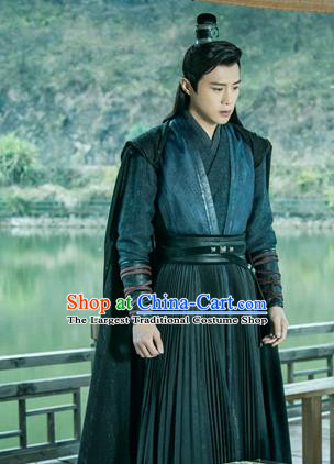 Chinese Ancient Imperial Bodyguard Zuo Yanxi Clothing Historical Drama The Love Lasts Two Minds Costume and Headpiece for Men