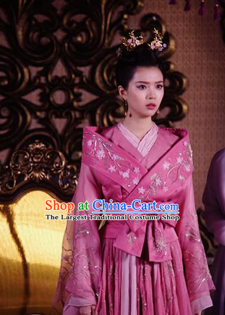 Chinese Ancient Infanta Wang Zesheng Hanfu Dress Drama The Love Lasts Two Minds Costume and Headpiece for Women