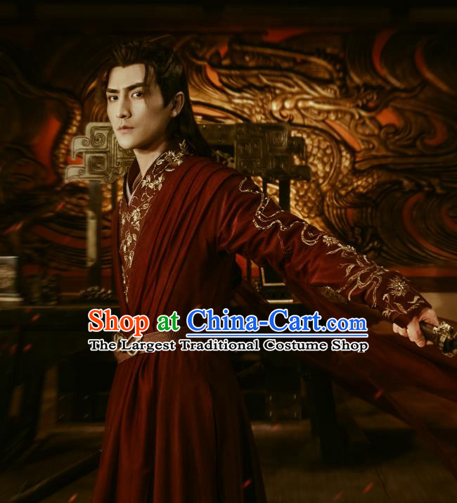 Chinese Ancient Royal Prince Mu Beiyan Clothing Historical Drama The Love Lasts Two Minds Costume and Headpiece for Men