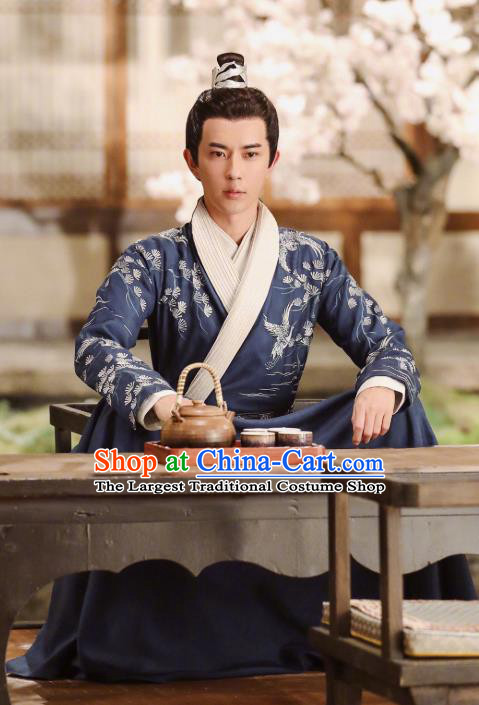 Chinese Ancient Noble Prince Jing Ci Clothing Historical Drama The Love Lasts Two Minds Costume and Headpiece for Men