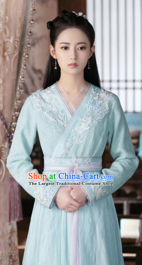 Chinese Ancient Infanta Feng Wanmian Blue Hanfu Dress Drama The Love Lasts Two Minds Costume and Headpiece for Women