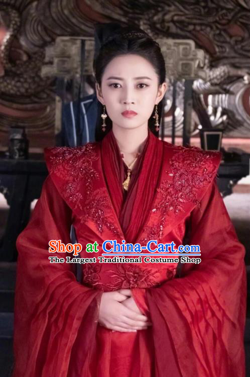 Chinese Ancient Infanta Feng Wanmian Wedding Red Hanfu Dress Drama The Love Lasts Two Minds Costume and Headpiece for Women