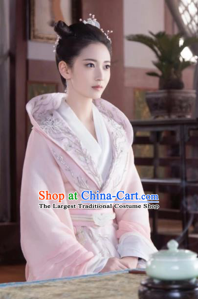 Chinese Ancient Noble Lady Feng Wanmian Pink Hanfu Dress Drama The Love Lasts Two Minds Costume and Headpiece for Women