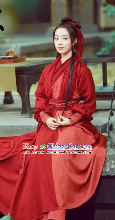 Chinese Ancient Swordswoman Feng Wanmian Red Hanfu Dress Drama The Love Lasts Two Minds Costume and Headpiece for Women