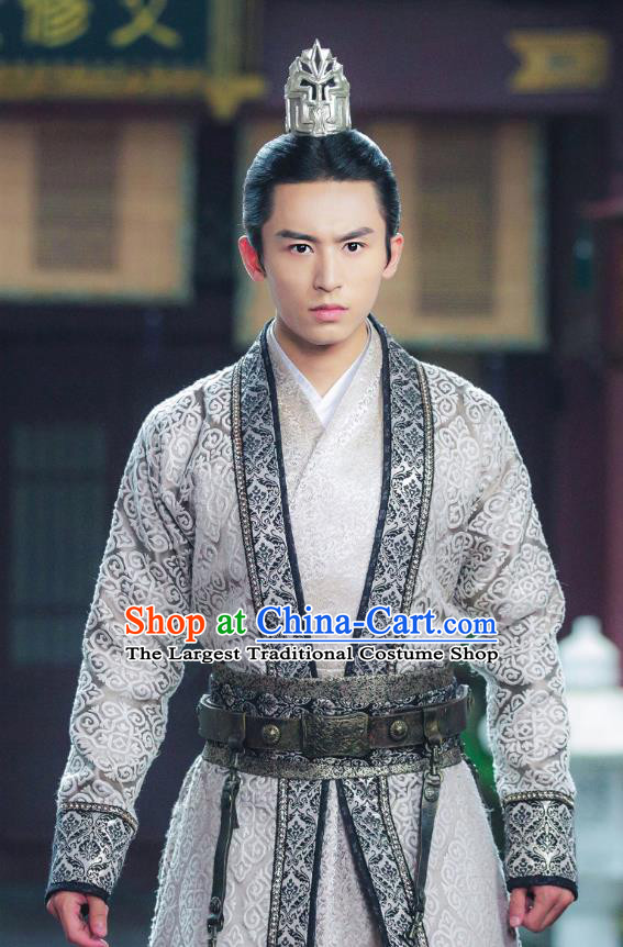 Chinese Ancient Swordsman Prince Long Feiye Clothing Historical Drama Legend of Yun Xi Costume and Headpiece for Men