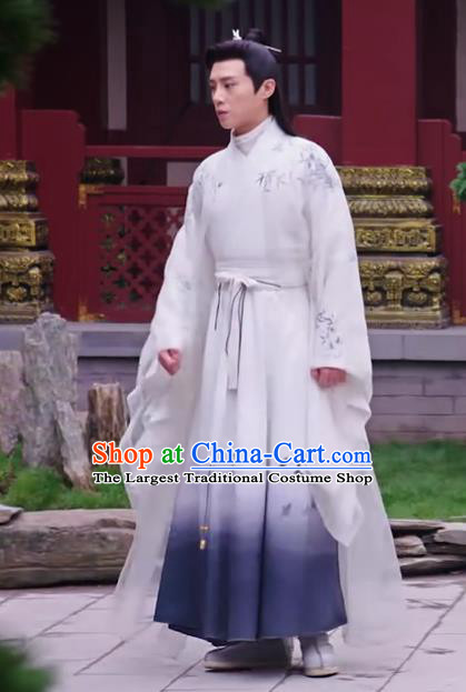 Chinese Ancient Noble Childe Zuo Yanxi Clothing Historical Drama The Love Lasts Two Minds Costume and Headpiece for Men
