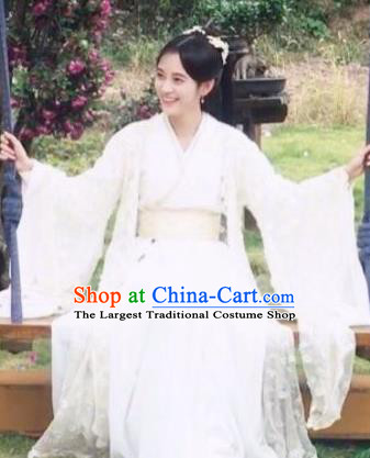Chinese Ancient Noble Lady Han Yunxi White Hanfu Dress Drama Legend of Yun Xi Costume and Headpiece for Women