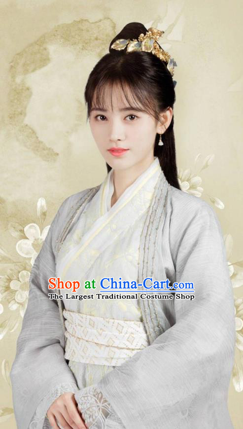 Chinese Ancient Princess Han Yunxi Grey Hanfu Dress Drama Legend of Yun Xi Costume and Headpiece for Women