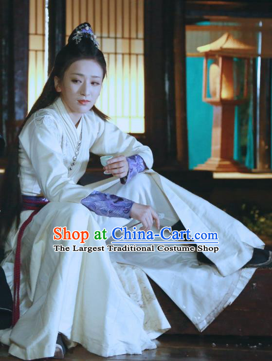 Drama Tao Hua Jie Chinese Ancient Female Swordsman Hanfu Dress Costume and Headpiece for Women