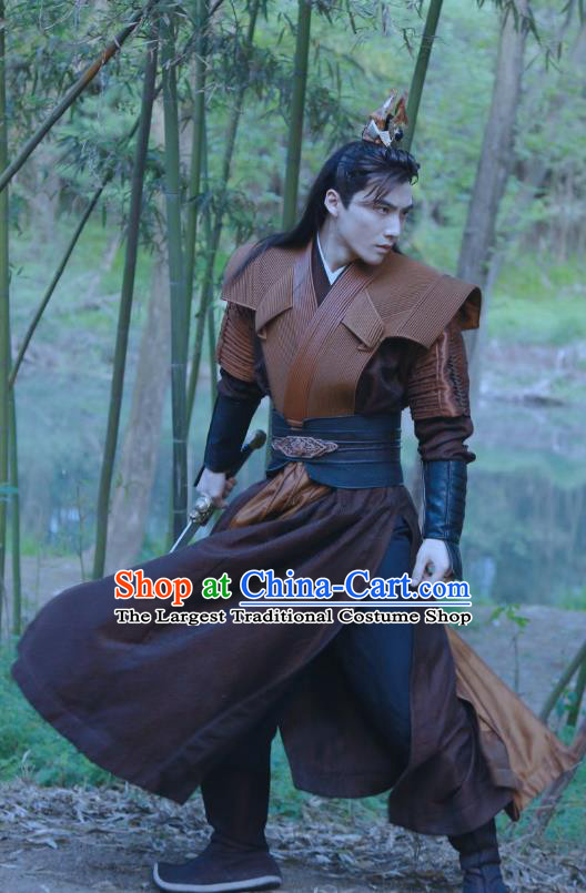 Chinese Ancient Young Swordsman Clothing Historical Drama Tao Hua Jie Costume and Headpiece for Men