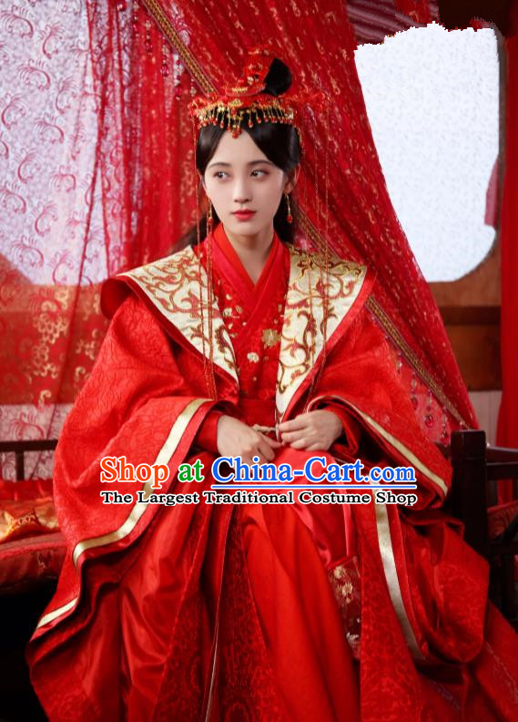 Chinese Ancient Crown Princess Qin Red Hanfu Dress Drama Legend of Yun Xi Wedding Costume and Headpiece for Women