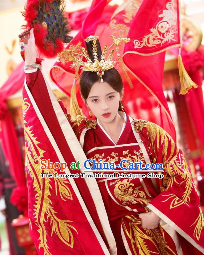 Chinese Ancient Princess Rani Qin Red Hanfu Dress Drama Legend of Yun Xi Wedding Costume and Headpiece for Women