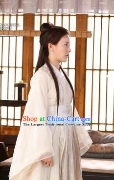Drama Colourful Bone White Hanfu Dress Chinese Ancient Royal Princess Jing Shu Costume and Headpiece for Women