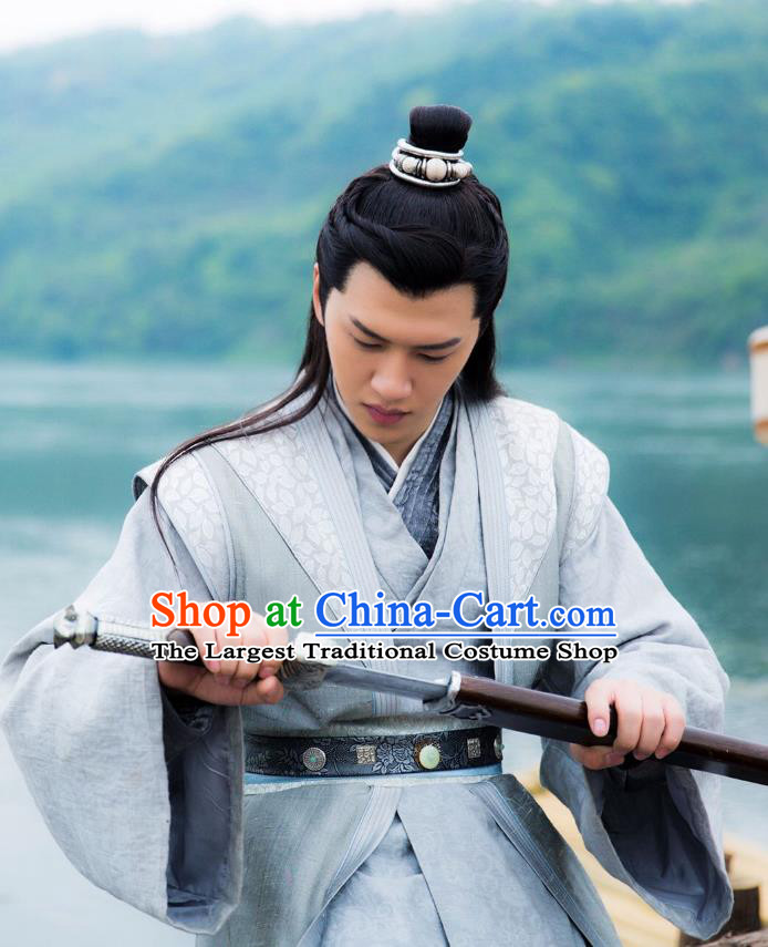Chinese Ancient Swordsman Clothing Historical Drama Colourful Bone Costume and Headpiece for Men