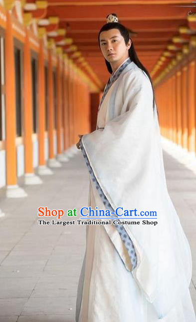 Chinese Ancient Scholar White Clothing Historical Drama Colourful Bone Costume and Headpiece for Men