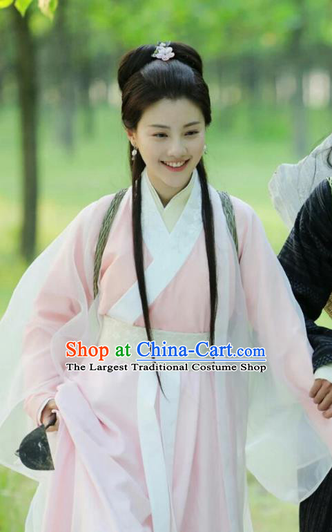 Drama Colourful Bone Chinese Ancient Royal Princess Pink Dress Costume and Headpiece for Women