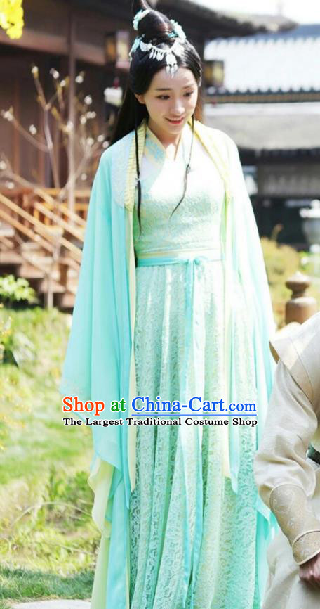 Drama Colourful Bone Chinese Ancient Royal Princess A Li Green Dress Costume and Headpiece for Women