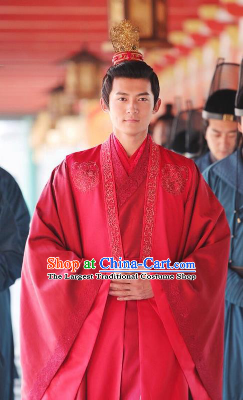 Chinese Ancient Crown Prince Ren Sheng Wedding Clothing Historical Drama Colourful Bone Costume and Headpiece for Men