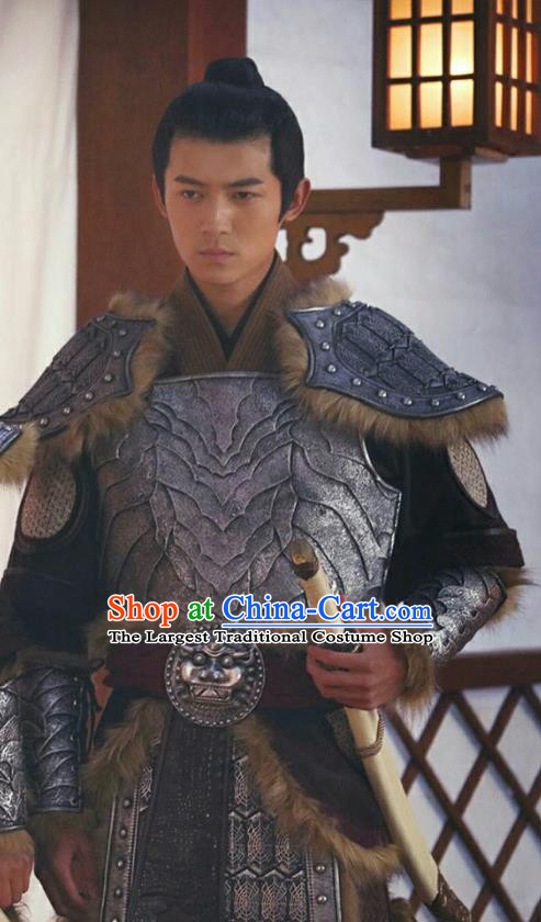 Chinese Ancient Prince Armor Clothing Historical Drama Colourful Bone Costume and Headpiece for Men