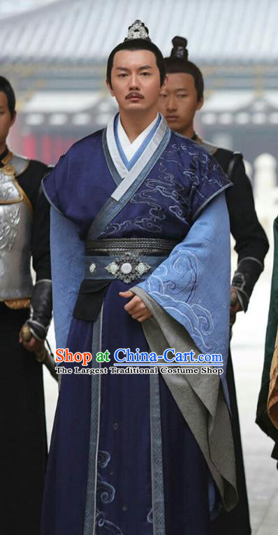Chinese Ancient Chancellor Feng Ruge Blue Clothing Historical Drama Colourful Bone Costume and Headpiece for Men