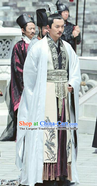 Chinese Ancient Official Chancellor Feng Ruge Clothing Historical Drama Colourful Bone Costume and Headpiece for Men