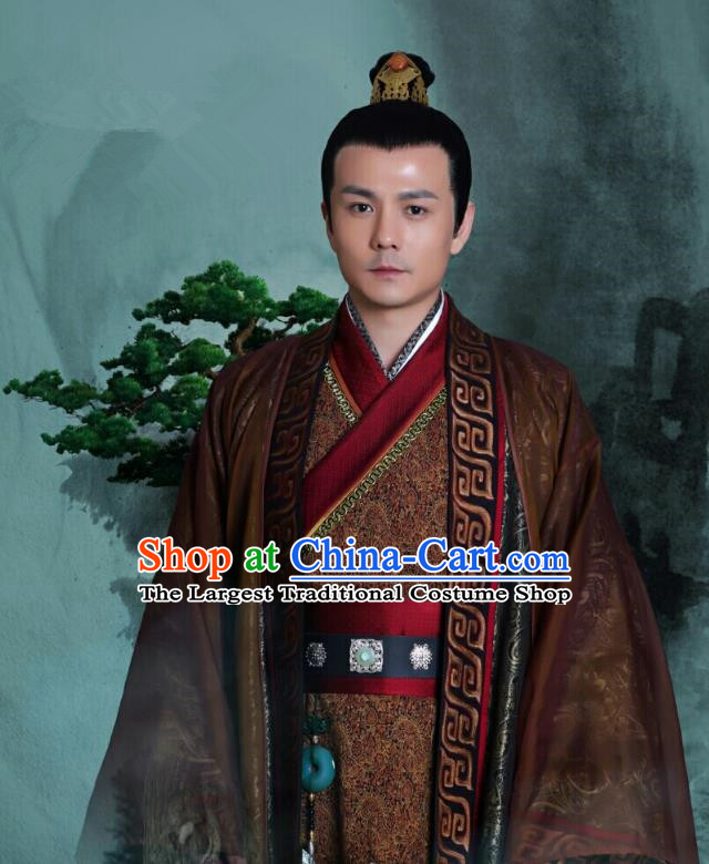 Chinese Ancient Royal Prince Clothing Historical Drama Colourful Bone Costume and Headpiece for Men
