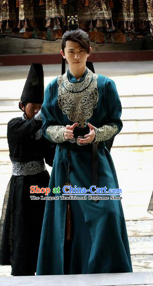Chinese Ancient Prince Historical Drama Qing Yu Nian Joy of Life Costume and Headpiece Complete Set
