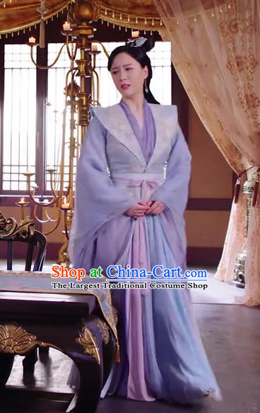 Chinese Ancient Royal Infanta Purple Hanfu Dress Drama The Love Lasts Two Minds Costume and Headpiece for Women