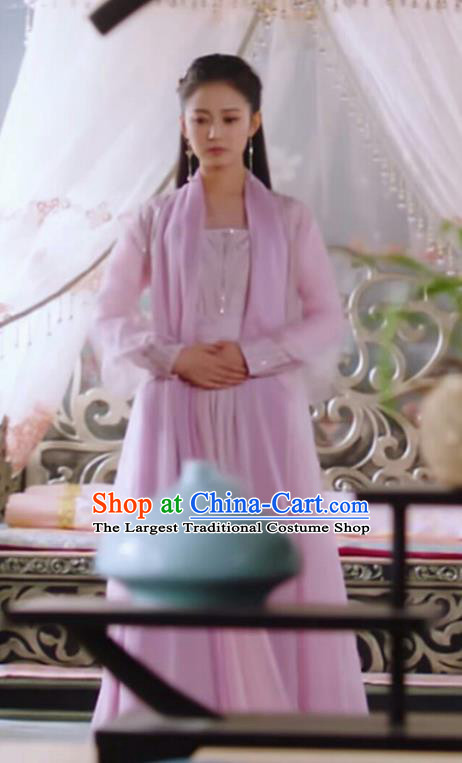 Chinese Ancient Royal Infanta Pink Hanfu Dress Drama The Love Lasts Two Minds Costume and Headpiece for Women