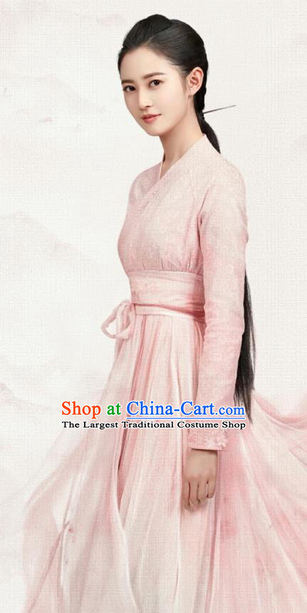 Chinese Ancient Female Swordsman Pink Hanfu Dress Drama The Love Lasts Two Minds Costume and Headpiece for Women