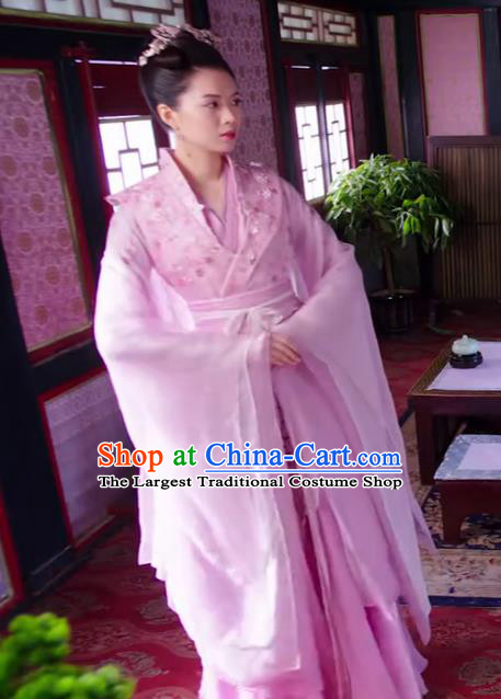 Chinese Ancient Princess Feng Wanqing Pink Hanfu Dress Drama The Love Lasts Two Minds Costume and Headpiece for Women