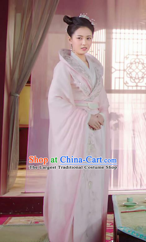 Chinese Ancient Princess Yuan Qingli Pink Hanfu Dress Drama The Love Lasts Two Minds Costume and Headpiece for Women