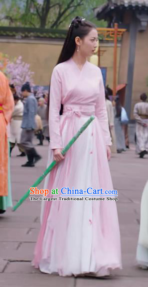 Chinese Ancient Swordswoman Pink Hanfu Dress Drama The Love Lasts Two Minds Costume and Headpiece for Women