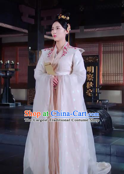 Chinese Ancient Princess Chang Le White Hanfu Dress Drama The Love Lasts Two Minds Costume and Headpiece for Women