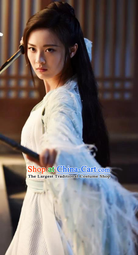 Chinese Ancient Female Swordsman Murong Jiu Hanfu Dress Drama Handsome Siblings Costume and Headpiece for Women