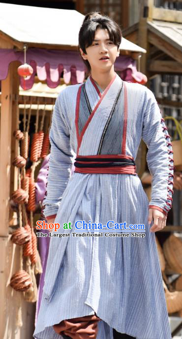 Chinese Ancient Young Swordsman Xiao Yuer Clothing Historical Drama Handsome Siblings Costume and Headpiece for Men