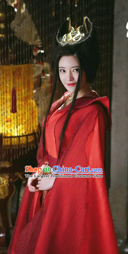 Chinese Ancient Swordswoman Xiao Mimi Red Hanfu Dress Drama Handsome Siblings Costume and Headpiece for Women