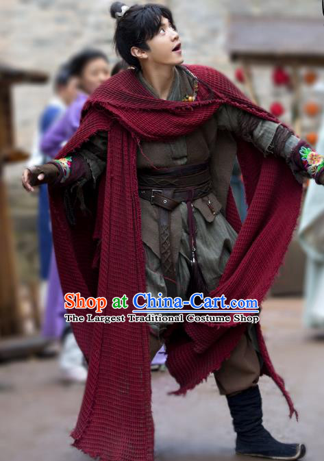 Chinese Ancient Swordsman Pauper Xiao Yuer Clothing Historical Drama Handsome Siblings Costume and Headpiece for Men