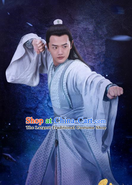 Chinese Ancient Swordsman Gu Renyu Clothing Historical Drama Handsome Siblings Costume and Headpiece for Men